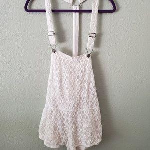 Crochet shorts overalls Volcom rare htf Lg white